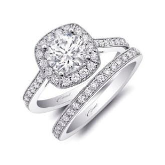 Coast Diamond 1CT halo engagement ring LC5357 pave diamonds milgrain edging