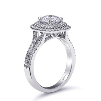 Coast Diamond double halo engagement ring lc10130 split band cathedral setting