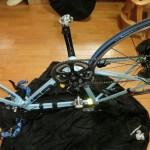 ロードバイク 輪行袋の収納手順の練習 両輪を外すタイプ