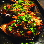 Stuffed aubergines with spinach, chickpeas and harrissa