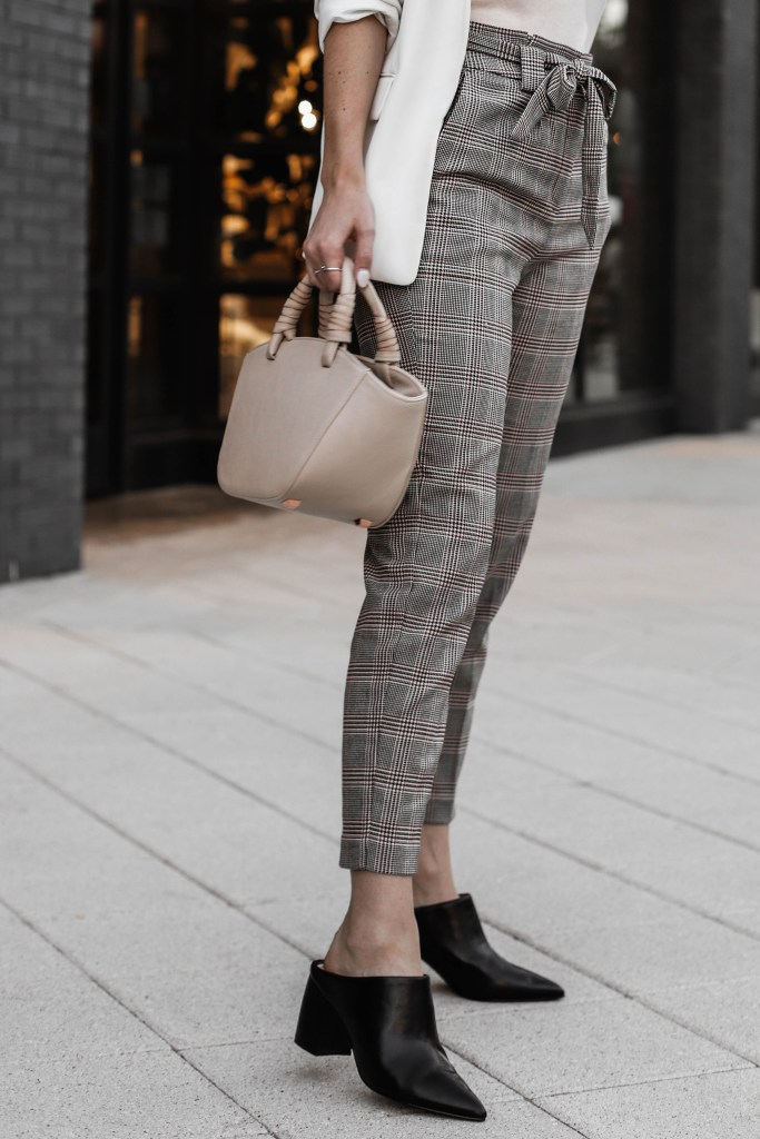 detail shot of plaid trousers and black mules