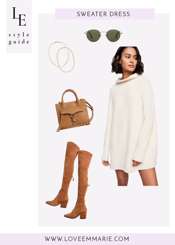 dressy outfit with white sweater dress camel over the knee boots tan crossbody
