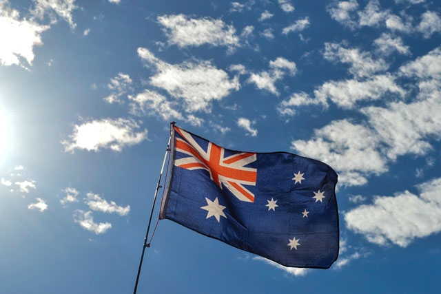 The Australian Flag blowing in the wind on Australia day