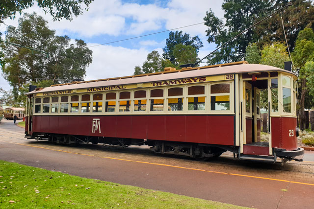 a tram at Whiteman Park