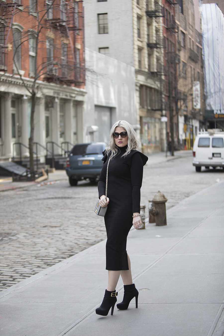 how to wear a little black dress in winter