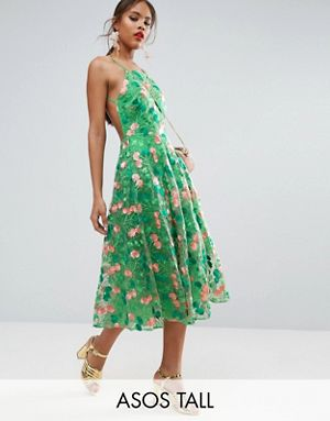 Tall ASOS TALL SALON Floral Embroidered Backless Pinny Midi Prom Dress