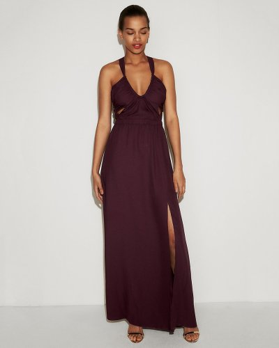 Strappy Cut-Out Fit And Flare Maxi Dress in Maroon