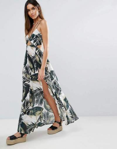 Beach Maxi Dress With Strap Detail in Mono Palm Print