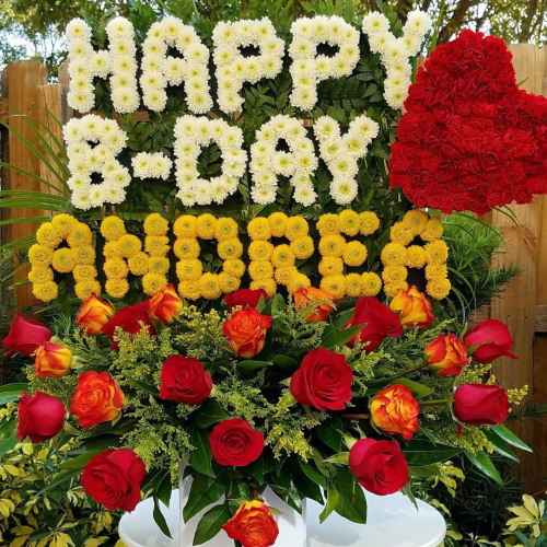 "Personalized Flower Arrangement ""HAPPY BDAY (Name – Up To 6 Letters)"" Birthday Flowers"