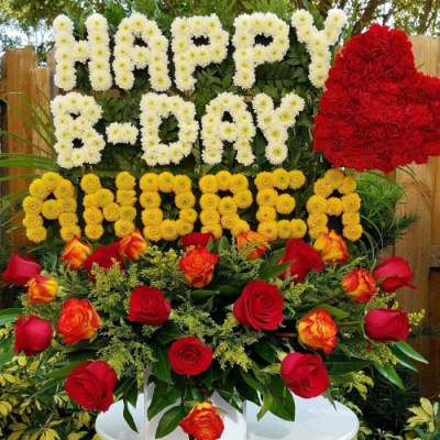 "Personalized Flower Arrangement ""HAPPY BDAY (name – Up To 6 Letters)"""
