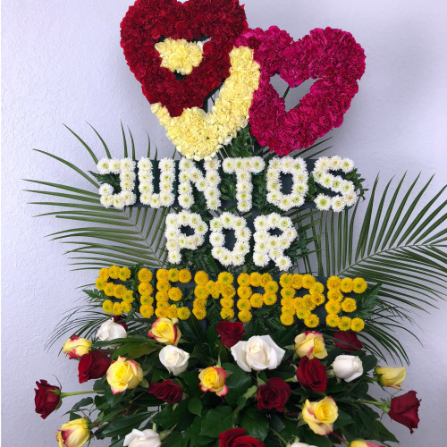 "Personalized Flower Arrangement ""JUNTOS POR SIEMPRE"" Love Flowers"