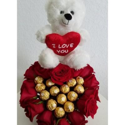 Teddy Bear, Chocolate And Flowers