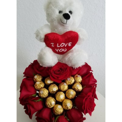 Teddy Bear, Chocolate And Flowers