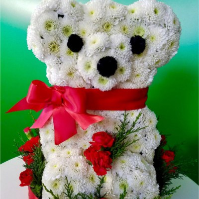 Teddy Bear Full Of Flowers