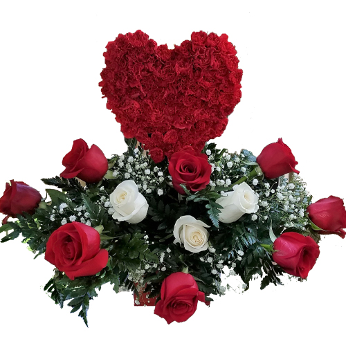 small red heart with white and red roses