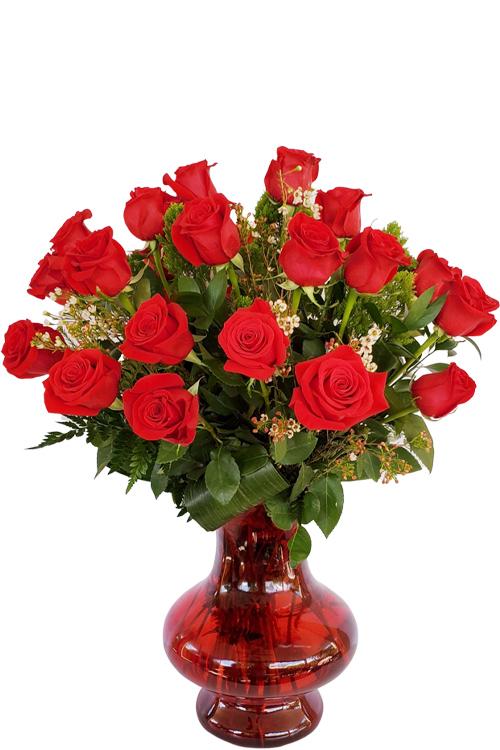 24- red roses vase