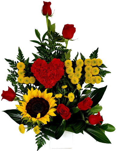 LOVE-flowers-con-girasoles-y-rosas Birthday Flowers