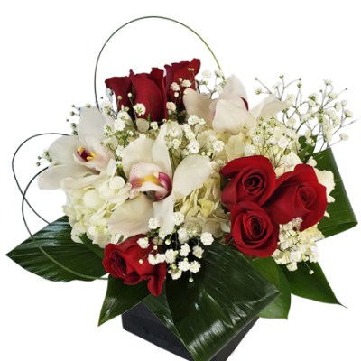 Hydrangeas, Orchids And Red Roses
