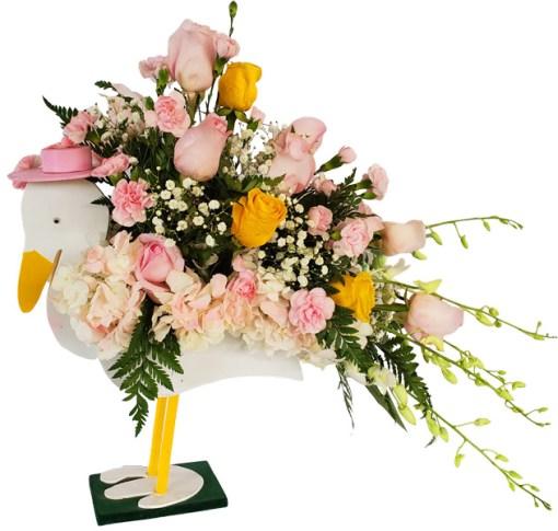 stork baby flowers
