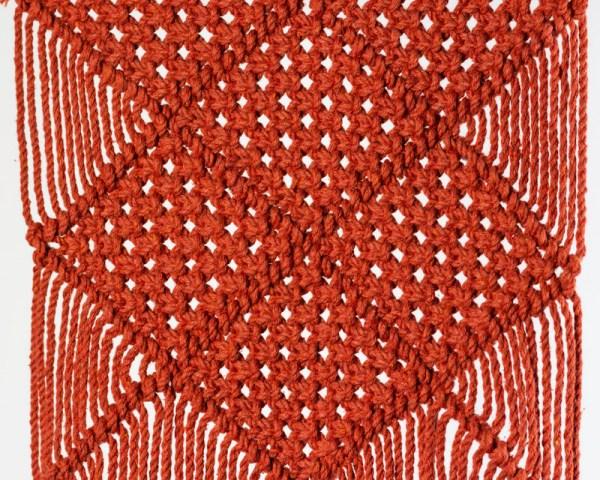 Granada Macrame Wall Hang Tile Red Made in Nicaragua