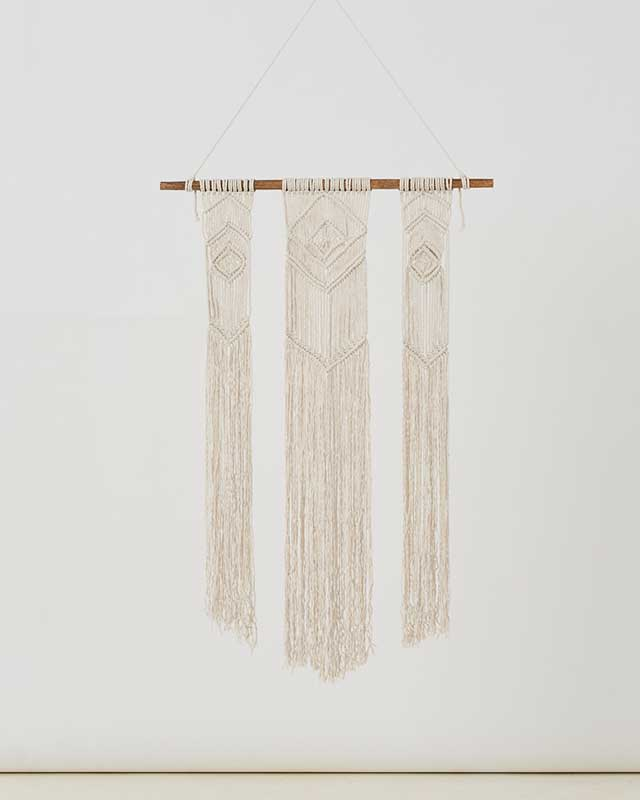 Big Corn Island Macrame Wall Hang Natural White Made in Nicaragua