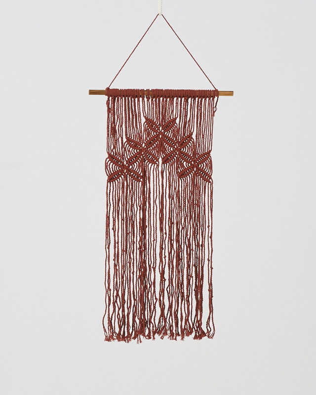 Rivas Macrame Wall Hang Tile Red Made in Nicaragua