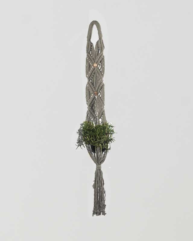 Somoto Macrame Plant Holder Gray Made in Nicaragua