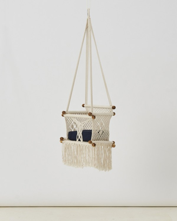 Macrame Toddler Swing Natural White Made in Nicaragua