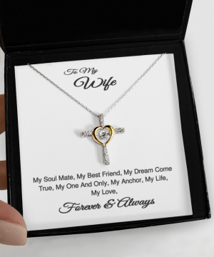 Silver Cross And Gold Heart Necklace With Cubic Zirconia Stones Gift For Wife