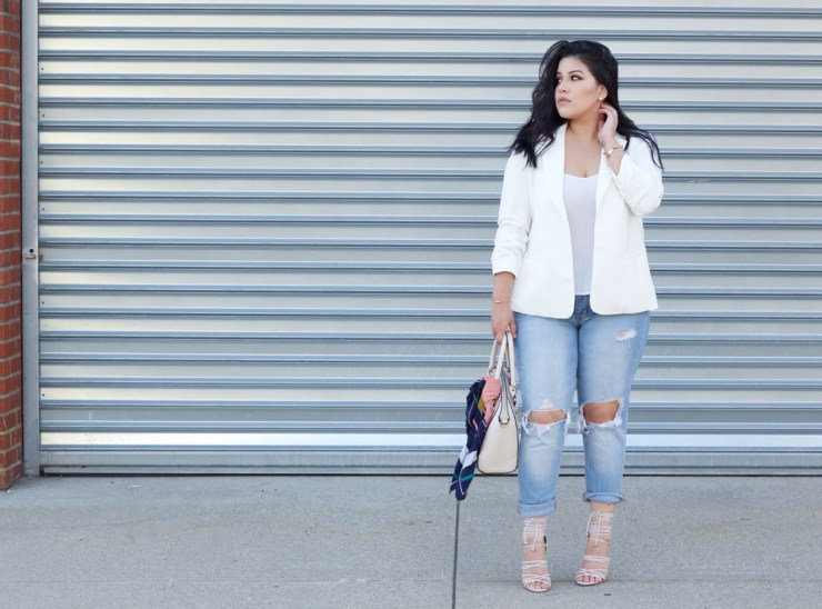 white-blazer-printed-scarf