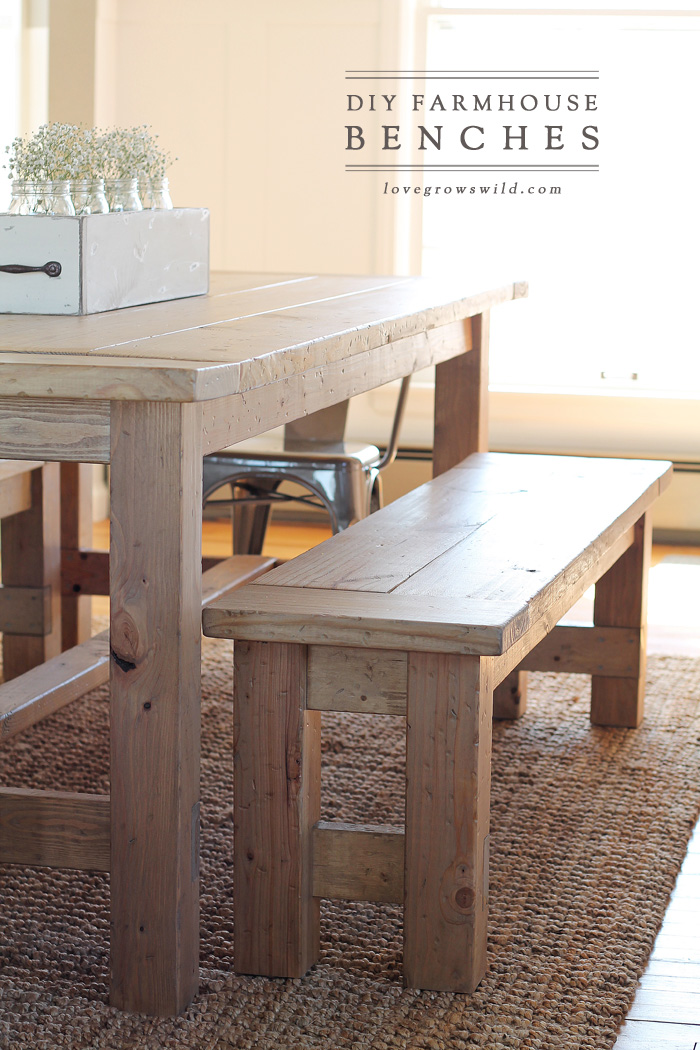 DIY Farmhouse Bench   Love Grows Wild Learn how to build an easy DIY Farmhouse Bench   perfect for saving space  in a  Using benches in a dining room instead of chairs