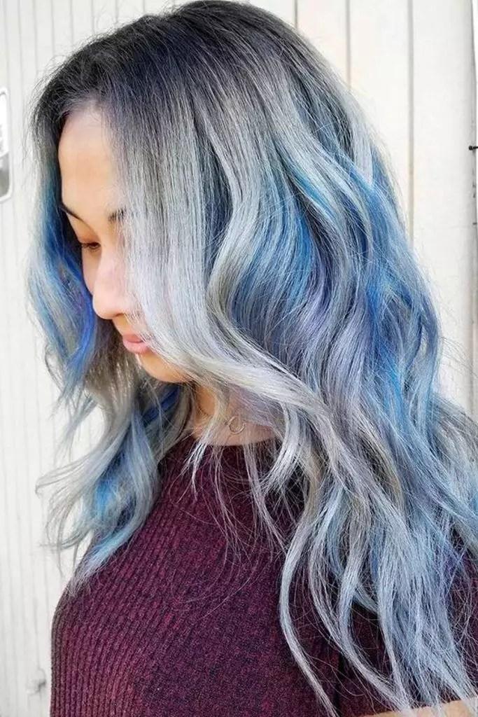 Silver Blue Balayage Highlights