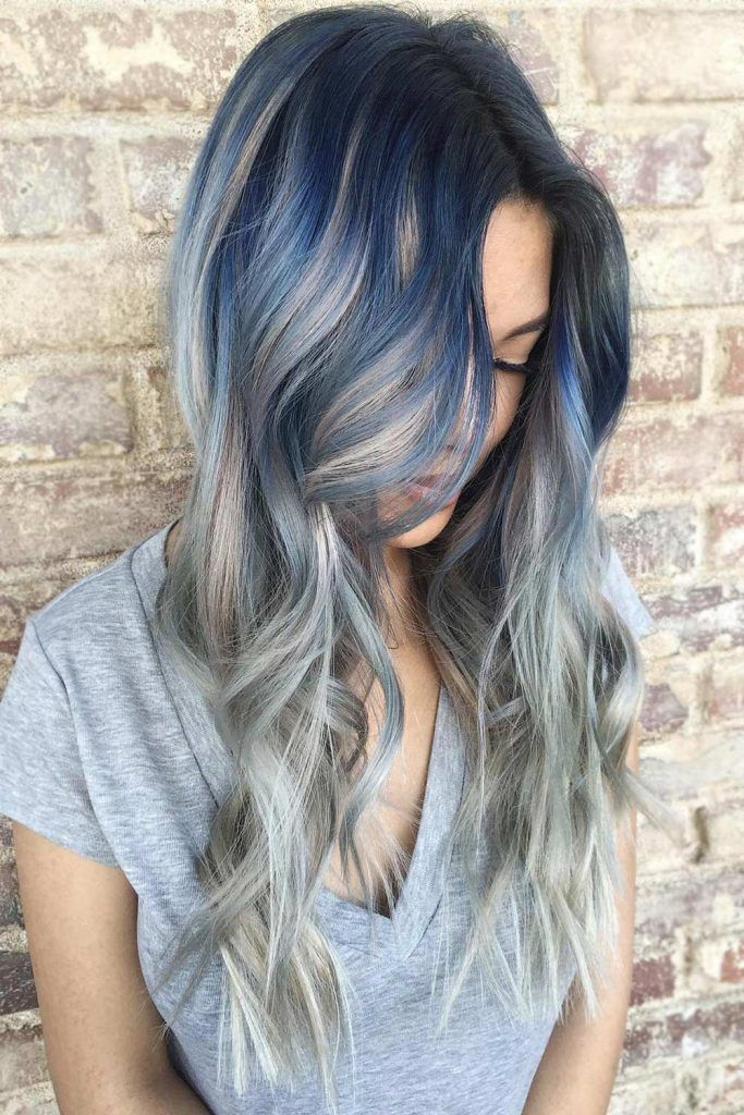 Silver Locks with Blue Roots and Highlights