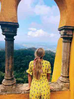 Looking out from the golden arches of Pena Palace in Sintra
