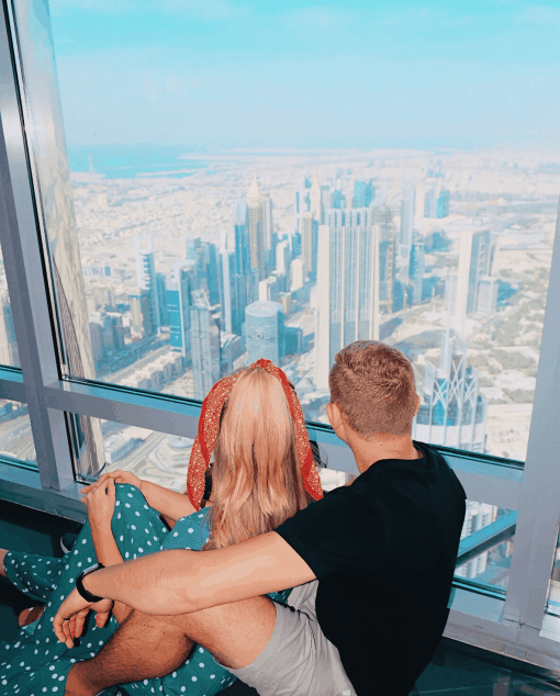 View from the top of Burj Khalifa, tallest building in the world and one of the top things to do in Dubai.