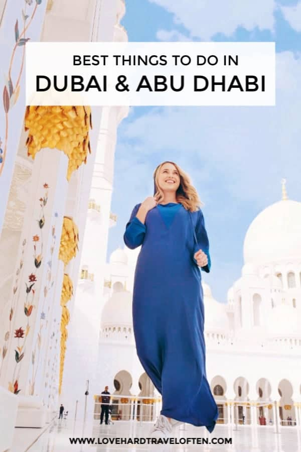 Pinterest photo to pin this blog, top things to do in Dubai.