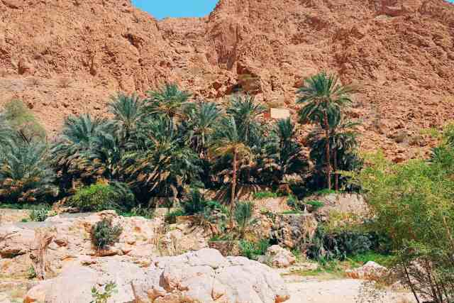 Wadi Shab desert hike, one of the top things to do in Oman.