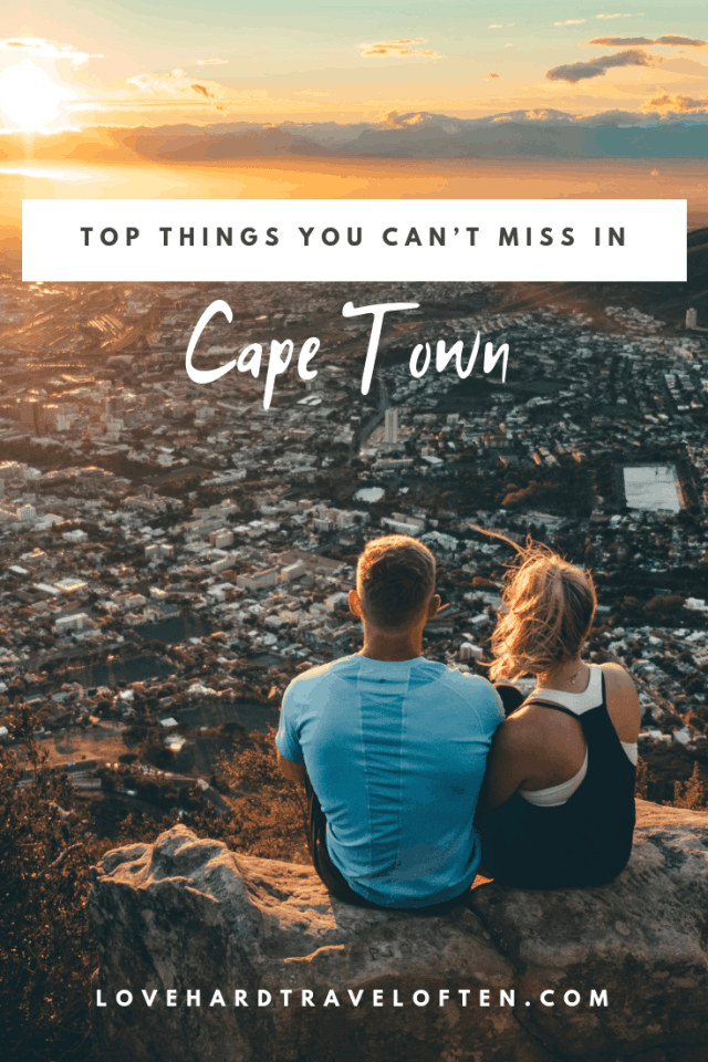 Pinterest pin graphic on top of Lions Head, top things to do in Cape Town