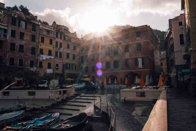 Vernazza harbour at sunset