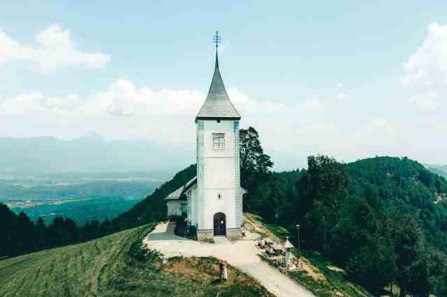 Gorgeous Church of St. Primoz on the hilltop in Jamnik, Slovenia