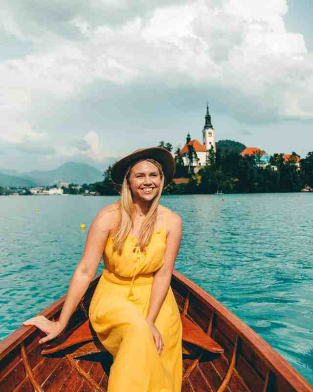 Enjoying a ride in a row boat on Lake Bled