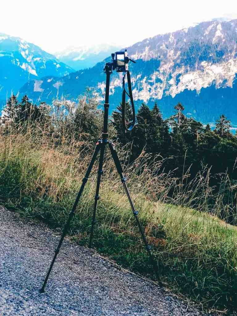 Best travel photography tripod set up overlooking the Swiss Alps