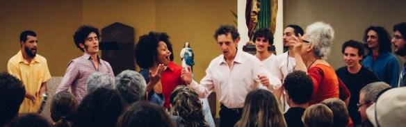 Open Choir in action. Mario in center w white shirt.