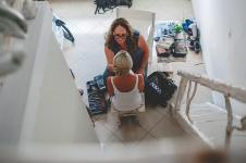 a bride preparation in santorini island