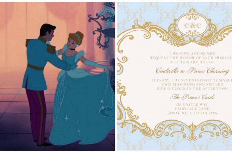 Image For Cinderella Inspired Wedding Invites Plus 6 More Disney Princess Options