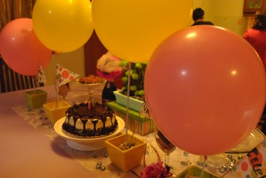 yellow and pink balloons