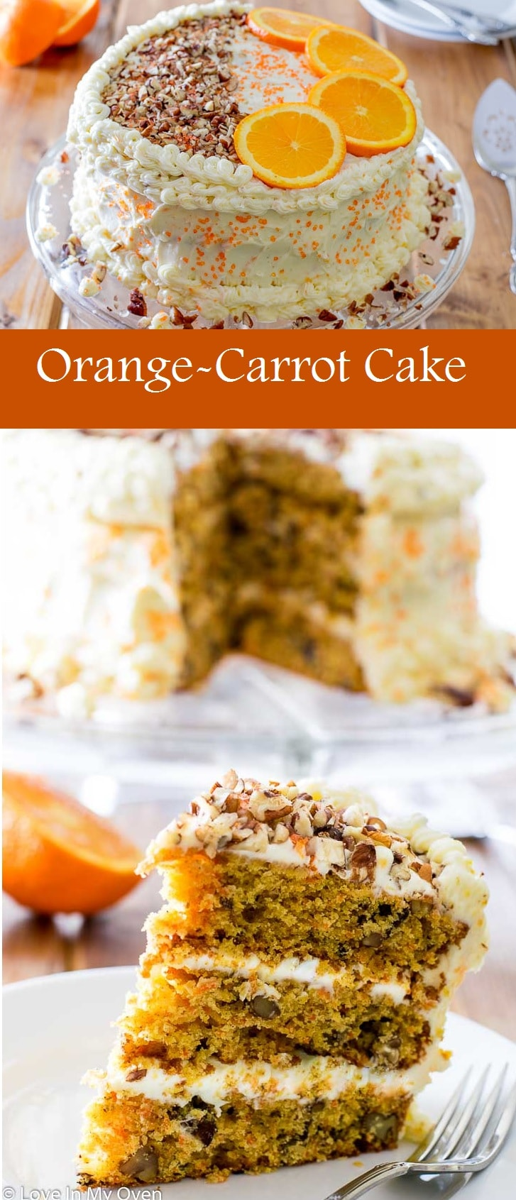 Your favoritecarrot cake, with a hint of orange and smothered in a luscious, orange flavored cream cheese frosting. The perfect springtime cake!