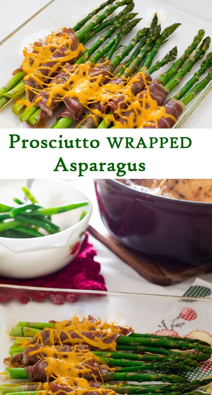 An easy and versatile side dish of salty, savory prosciutto wrapped around tender, roasted asparagus and topped with melted cheddar cheese.