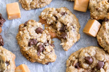 Caramel-Stuffed Oatmeal Chocolate Chip Cookies