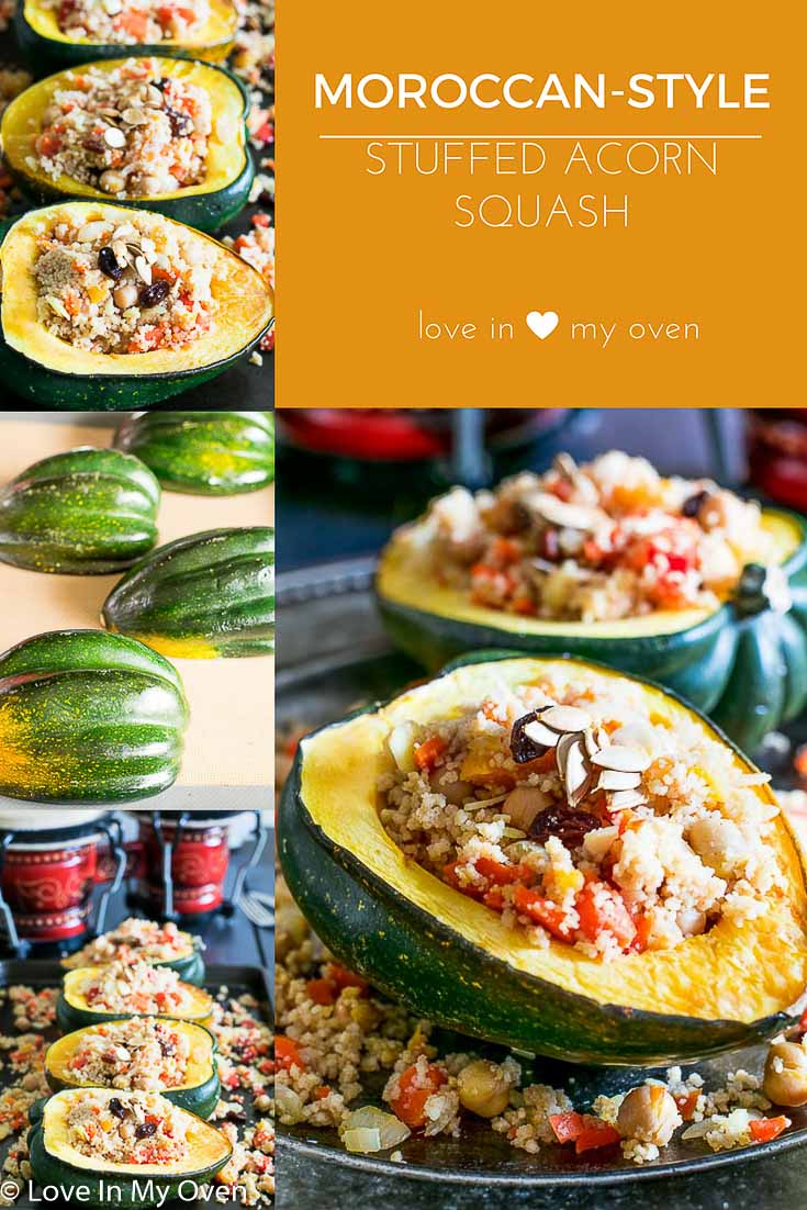 The perfect Meatless Monday or vegetarian dinner dish! Roasted acorn squash glazed with butter and brown sugar is stuffed with a lightly spiced Moroccan style couscous, fruit and vegetable mixture.